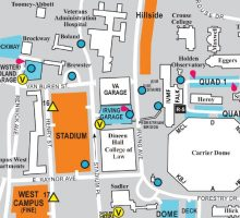 a snip of the North Campus map, produced by Parking and Transit Services