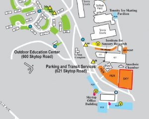 a small snip of the south campus parking map