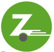 "Green Zipcar logo, consisting of a ""z"" with a small gray circle at the base signifying a wheel, and ""whoosh"" marks at the tail signifying a moving vehicle."
