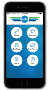 Cell phone with Centro app launched