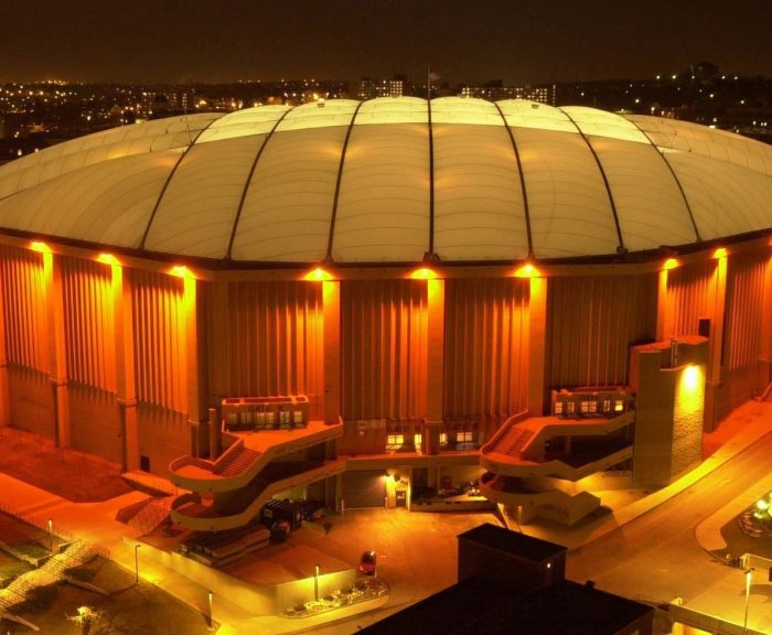 Carrier Dome lite up at nighttime