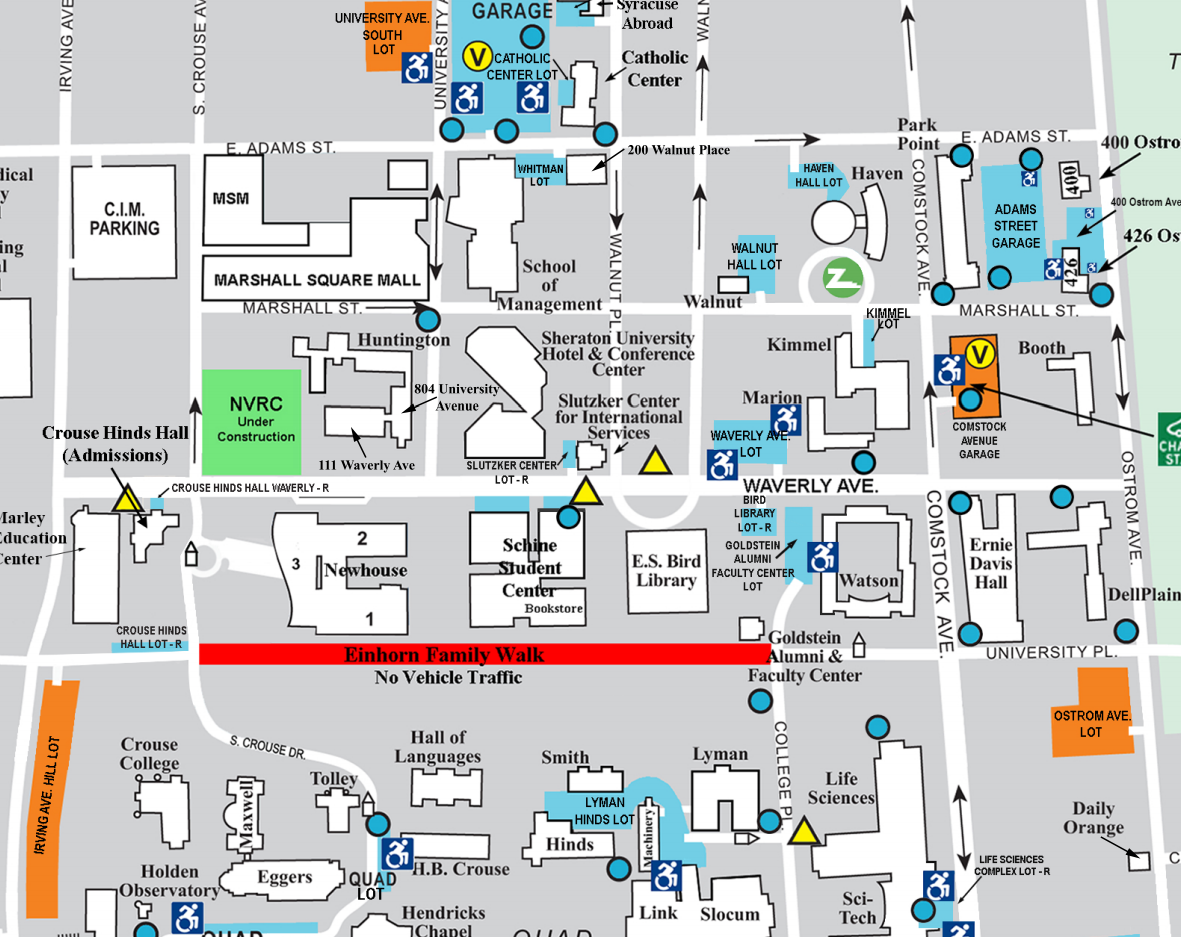 Campus Maps - Parking and Transit Services – Syracuse University on pace university map, rensselaer polytechnic institute map, fredonia campus map, university of toronto map, university of rhode island map, cuny map, ualbany map, drexel university map, boston university map, binghamton map, purchase college map, rutgers university map, american university map, university of north carolina map, duke university map, sunpass map, brandeis university map, trinity college map, university of notre dame map, fordham map,