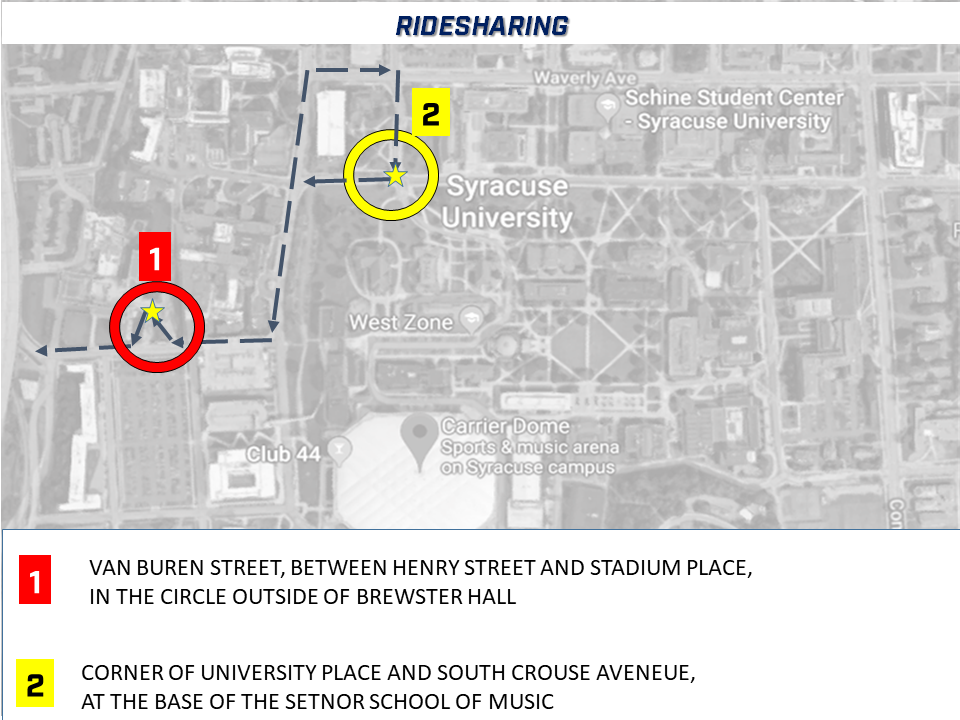 Map with details of locations of ride sharing on van buren street and university avenue and south crouse avenue.